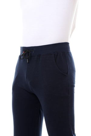 Plain Front Pockets Sweatpants - Navy Blue