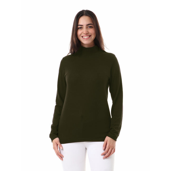 Unisex Plain High Neck Basic Winter Top - Olive
