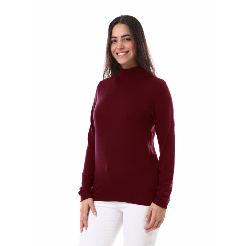 Unisex_Plain_High_Neck_Basic_Winter_Top_-_Burdundy