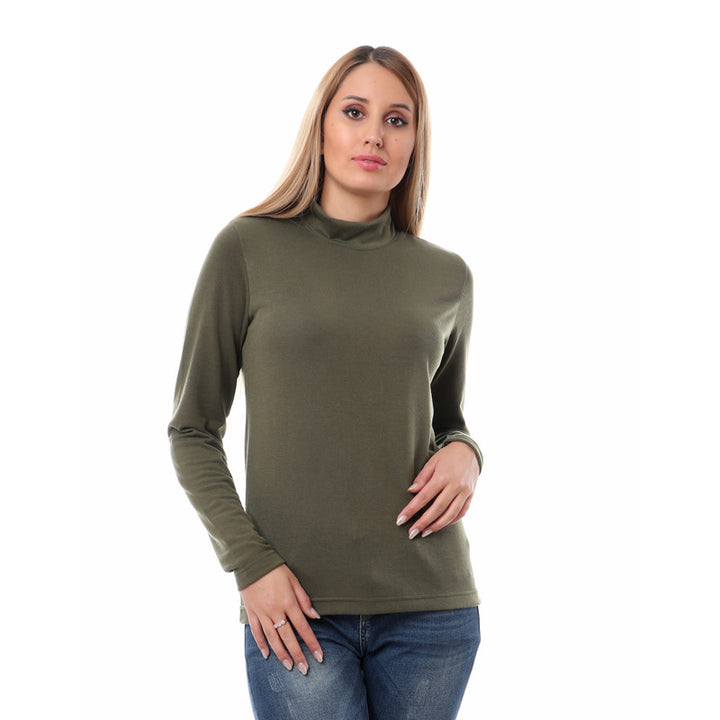 Cotton Mock Neck Sweater - Olive