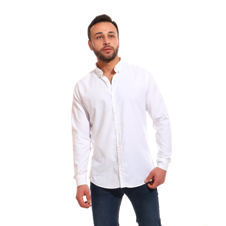 Cotton Buttoned Long Sleeves Shirt - White