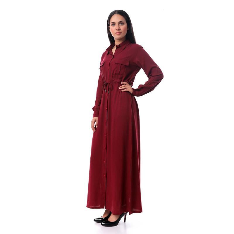 Full Down Buttons Long Shirt Dress - Dark Maroon