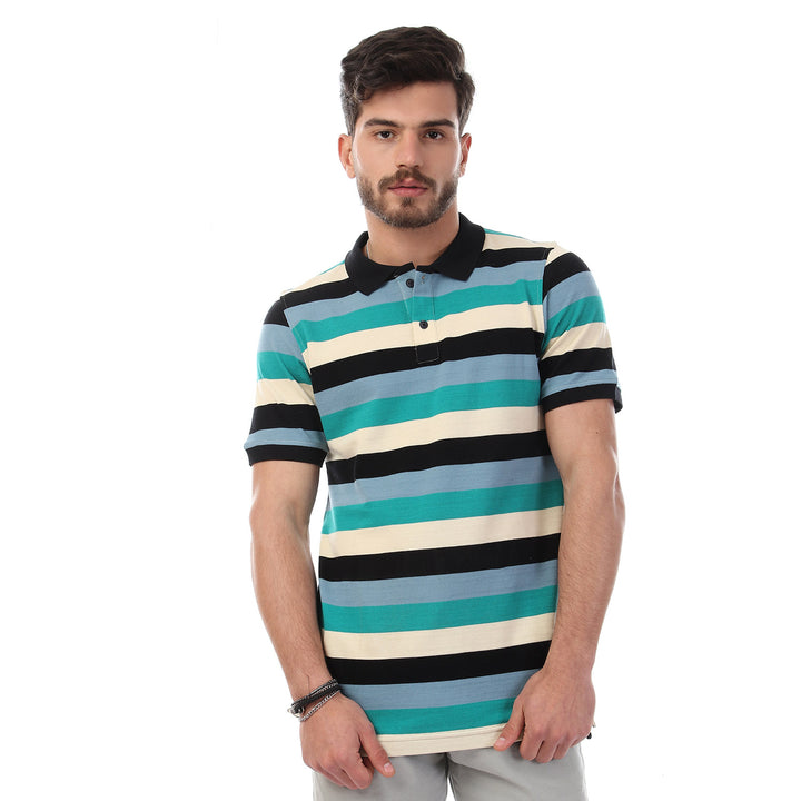 striped-short-sleeves-buttoned-polo-shirt-multicolour-3