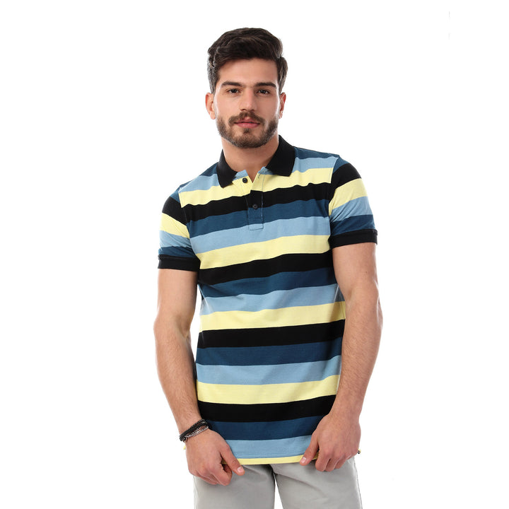 striped-short-sleeves-buttoned-polo-shirt-multicolour-2