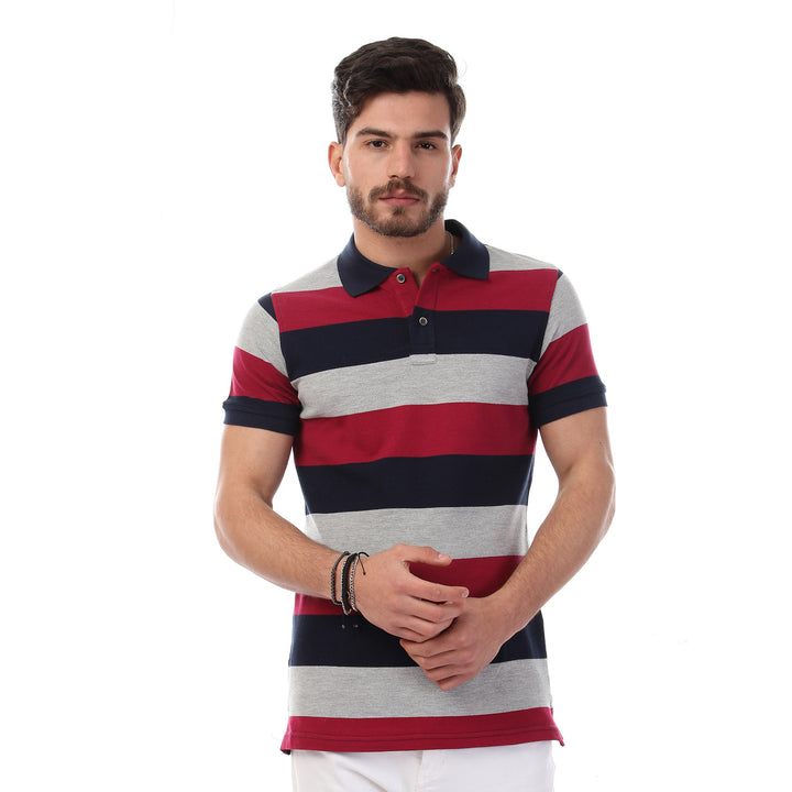 Striped Short Sleeves Buttoned Polo Shirt - Multicolour