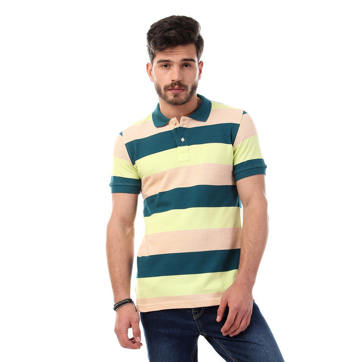 striped- short- sleeves- buttoned- polo- shirt- - multicolour