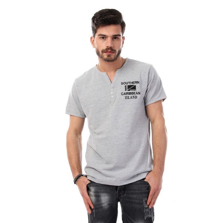 Buttoned Mandarin Collar Short Sleeves Polo Shirt -Grey