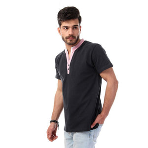 Open V-Neck Mandarin Polo Shirt - Charcoal Grey