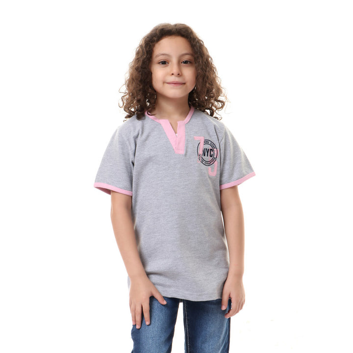 boys decorative buttoned v-neck t-shirt - light grey