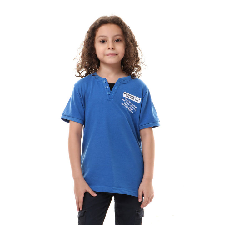front decorative buttons slip on boys t-shirt - blue