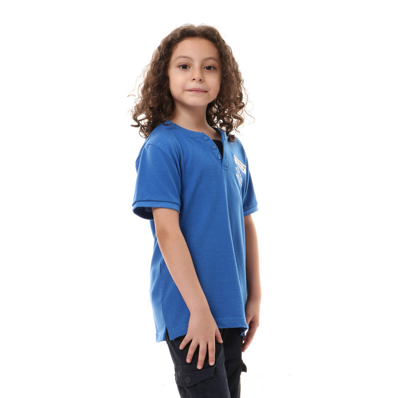 Front Decorative Buttons Slip On Boys T-Shirt - White