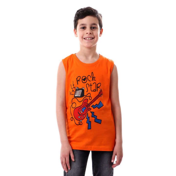 printed- summer- slip- on- orange- t-shirt
