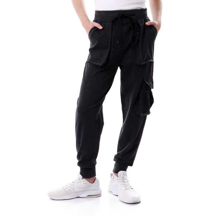 Boys Comfy Side Pocket Sweatpants - Navy Blue