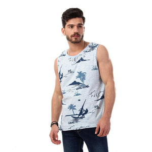 Printed Palms Comfy Tank Tops - Navy Blue & Baby Blue