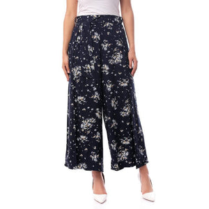 Floral Loose Summer Pants - Navy Blue