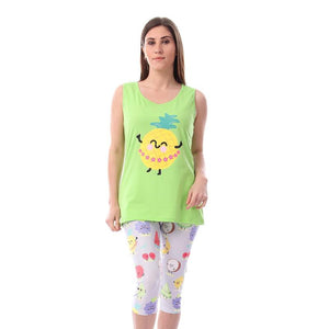 Pineapple Printed Pajama Pantacourt - Lemon Green & Grey
