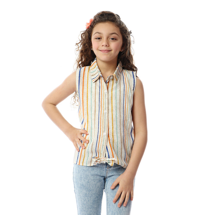 Striped Sleeveless Blouse For Girls - Heather Beige