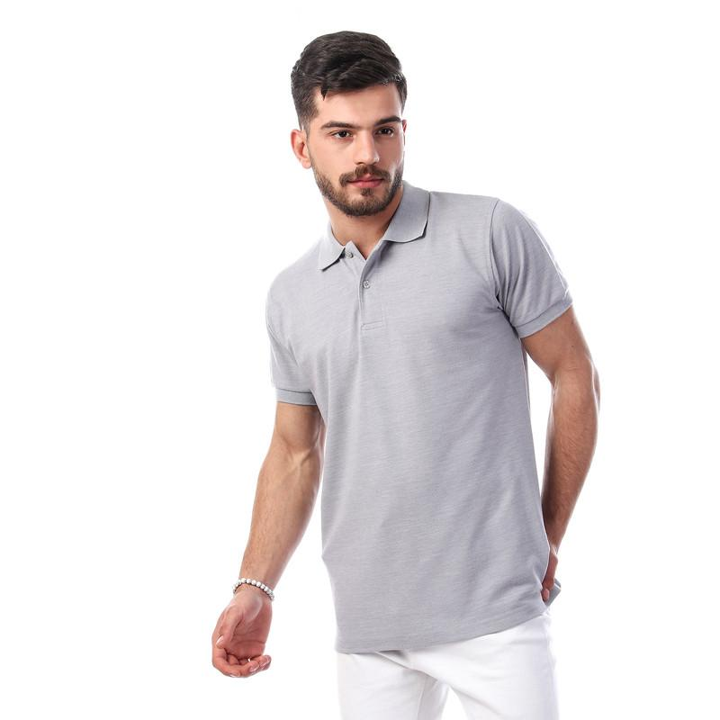 Heather Buttoned Polo Shirt - Light Grey