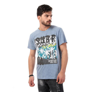 Printed Surf With Palms Short Sleeves Tee - Heather Carolina Blue