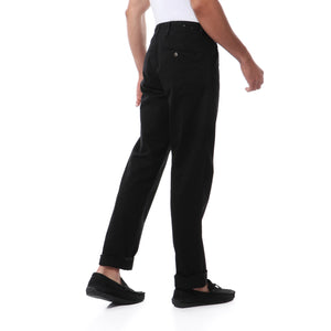 Solid Casual Gabardine Pants - Black