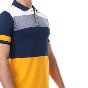 Half Sleeves Striped Polo Shirt - Navy Blue & Mustard