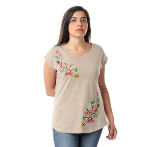 Round Floral Embroidery T-shirt - Coffee