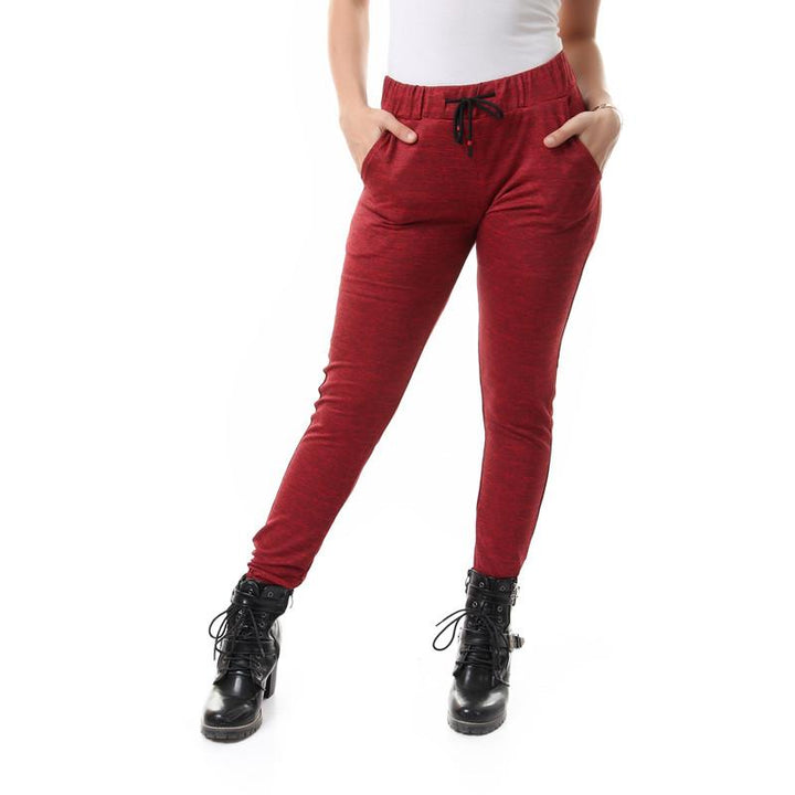 Comfy Heather Pants With Elastic Hem - Red