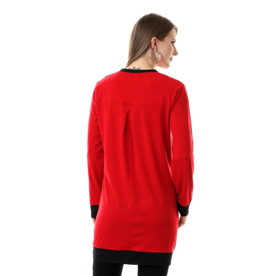 Side Two Pockets Casual Top With Hem - Red