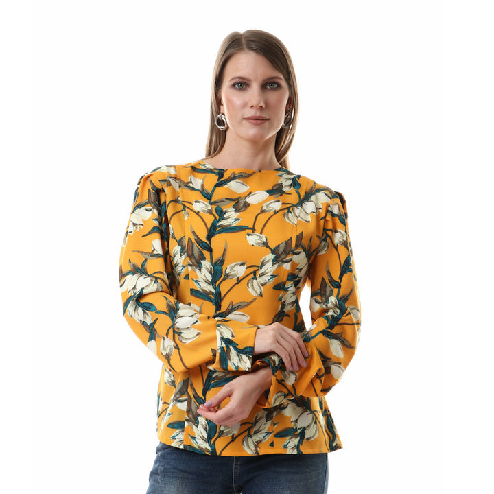 High Low Floral Light Salmon Buttoned Shirt