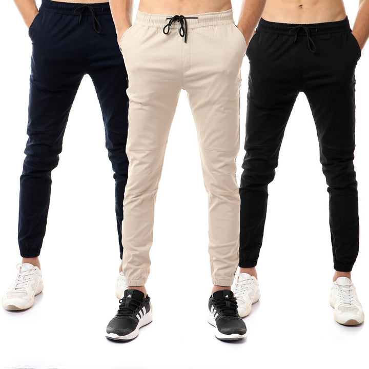 Bundle Of 3 Casual Solid Pants -Super Slim Fit - Beige, Black & Navy Blue