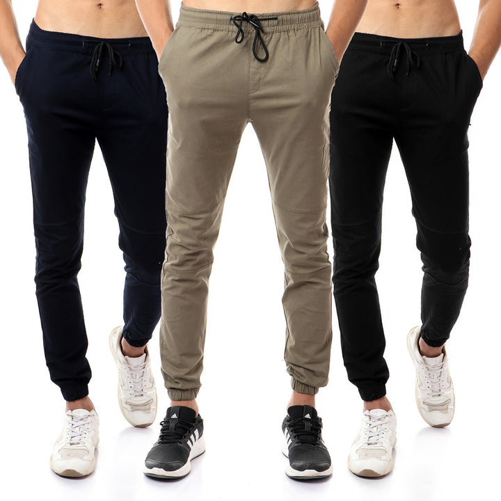 Bundle Of 3 Pants With Elastic Hem - Super Slim Fit - Olive, Black & Navy Blue