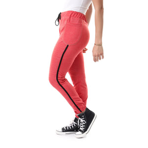 Fashionable Side Lined Sweatpants - Heather Red