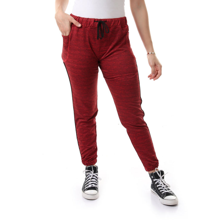 Elasticated Waistband Cozry Sweatpants - Red