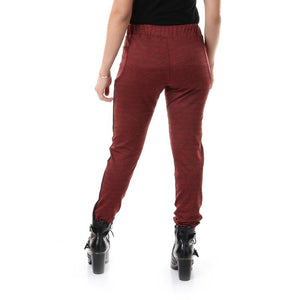 Cuffed Hem Jogger With Side Stripe -Red