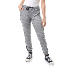 Diagonal Front Pockets Drawstring Jogger - Heather Grey
