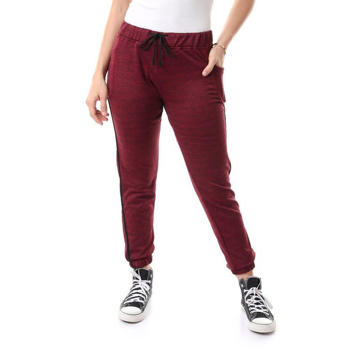Side Pockets Pants With Heather Pattern - Red