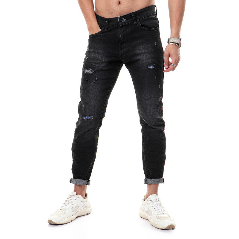 Padded Ripped Regular Fit Jeans - Black