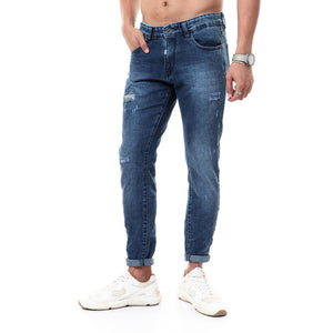 "Ripped Jeans With Side Printed "" Ruck "" - Light Blue"