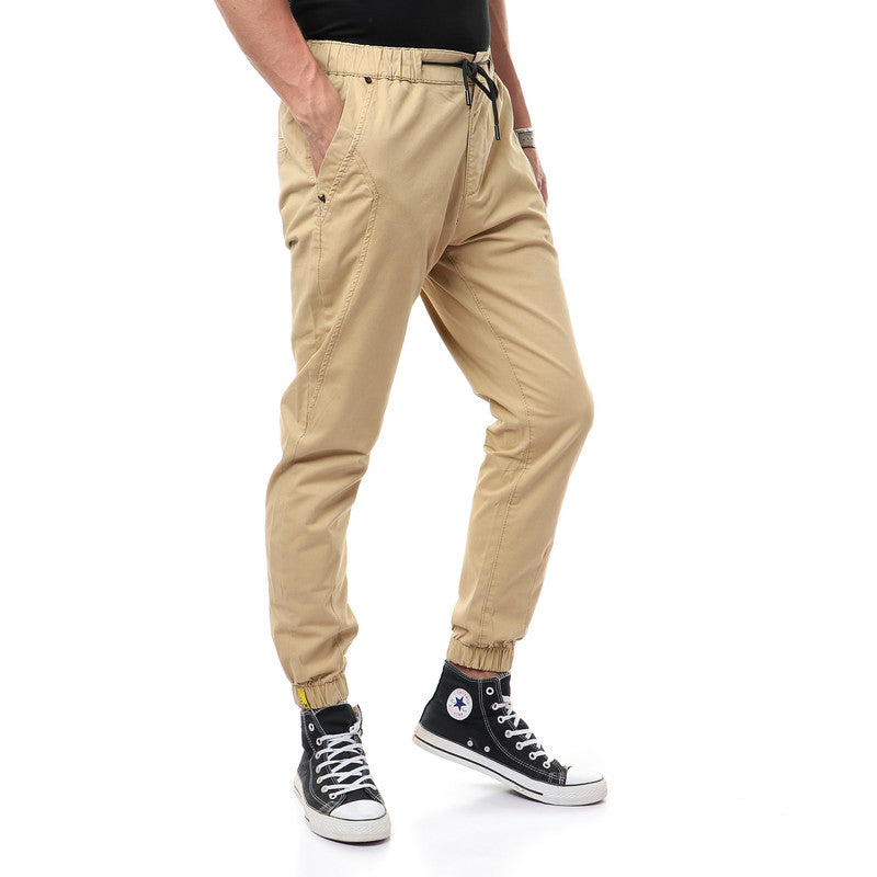 Plain Casual Side Pockets Navy Blue Pants
