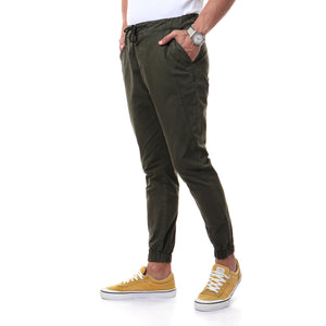 Casual Solid Pants With Elastic Hem - Olive