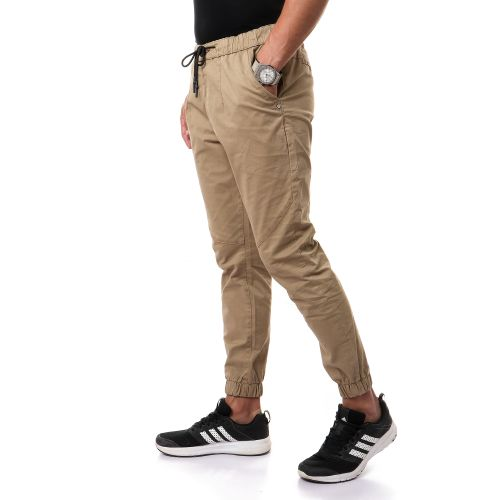 Casual Solid Pants With Elastic Hem - Brown