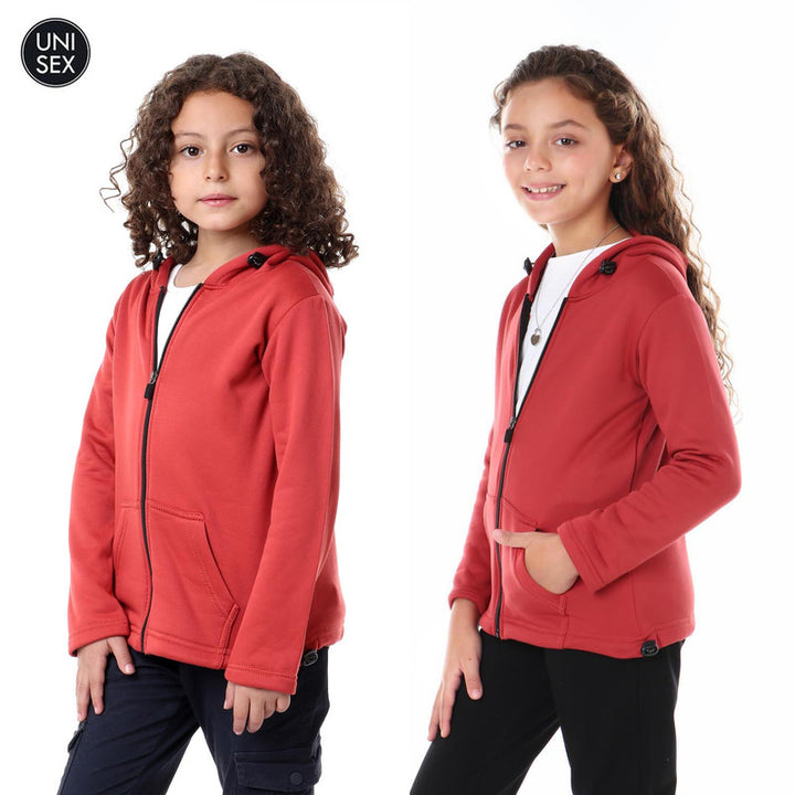 Kids Thermal Hooded Zipped Sweatshirt - Coral