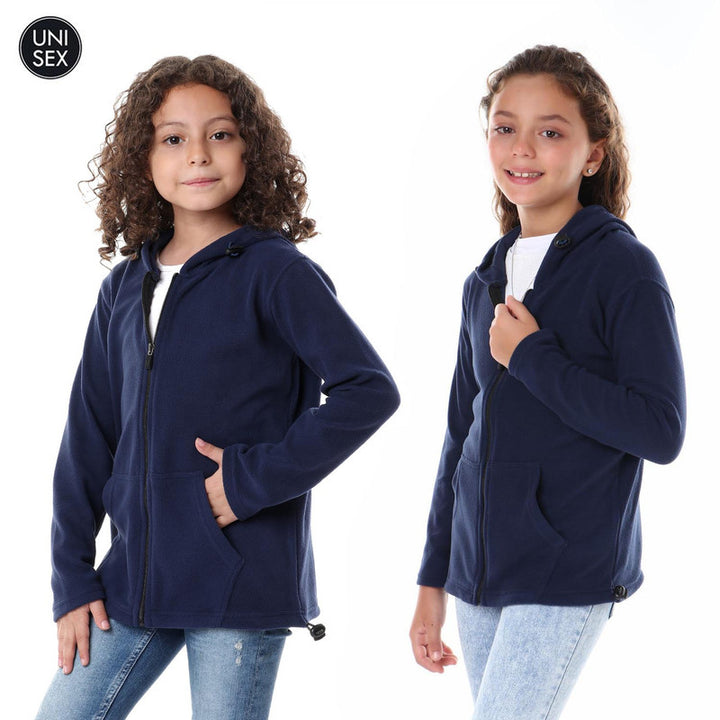 Kids Thermal Hooded Zipped Sweatshirt - Navy Blue
