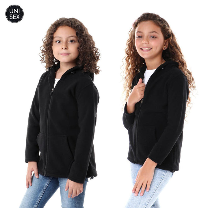 Kids Thermal Hooded Zipped Sweatshirt - Black