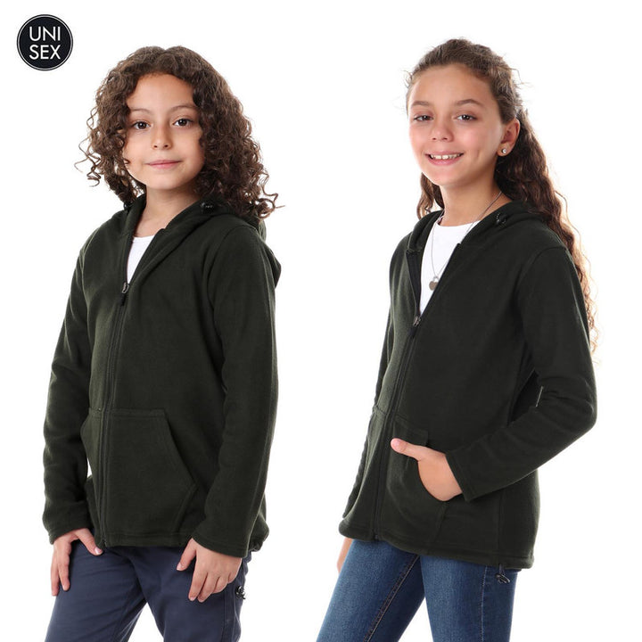 Kids Thermal Hooded Zipped Sweatshirt - Olive
