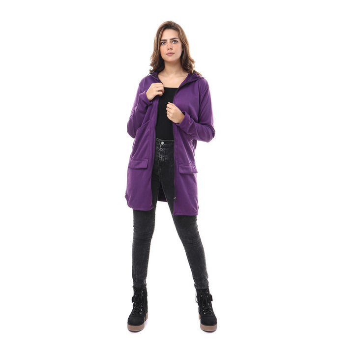 Hooded Zipped Long Sweatshirt - Purple
