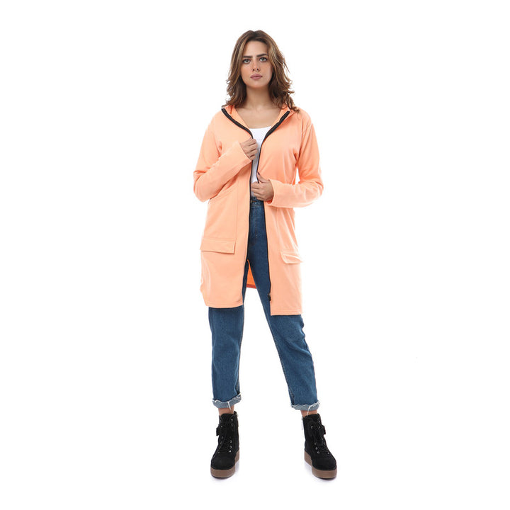 Hooded Zipped Long Sweatshirt - Light Orange