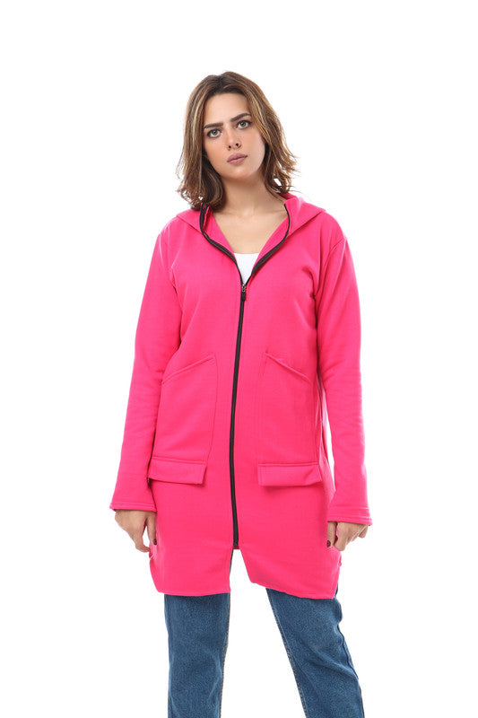 Hooded Zipped Long Sweatshirt - Fuchsia