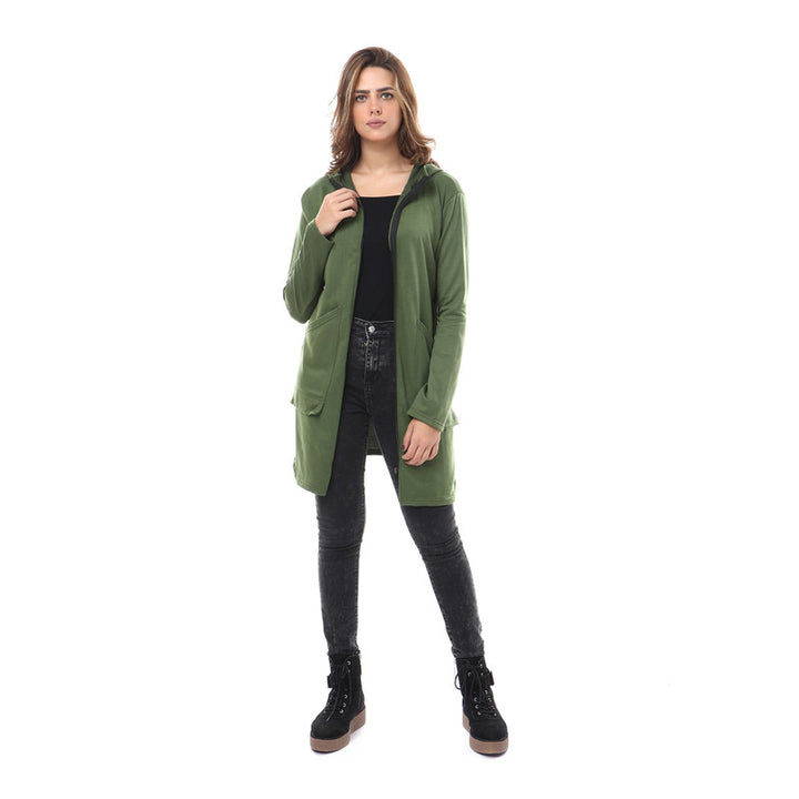 Hooded Zipped Long Sweatshirt - Dark Green