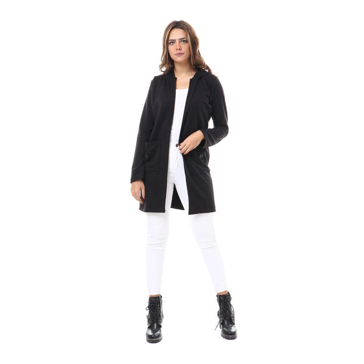 Hooded Neck Open Cardigan - Black